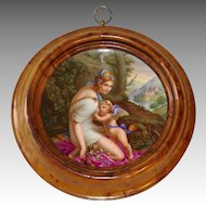 Late 19th C. Hand Painted Royal Vienna Plate, 'Venus saugt den Amor'