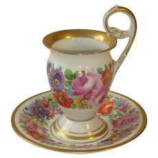 Late 19th C. KPM Floral Decorated Empire-Style Cup and Saucer