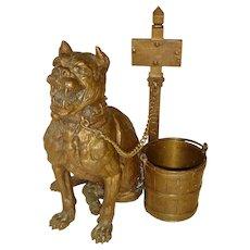 A Fierce Bronze Mastiff Inkwell Sculpture by Agathon Leonard c. 1910
