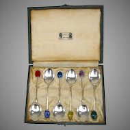 Set of 6 Liberty and Co. Demitasse Sterling Silver Spoons in Original Box 1927