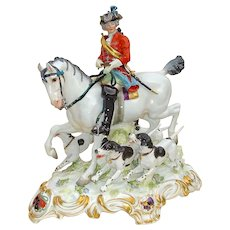 Large Meissen Huntsman on Horse with Four Detachable Hounds c. 1900
