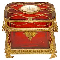 Exceptional Late 19th C. Ruby Glass Box Mounted within an Ornate Bronze Framework
