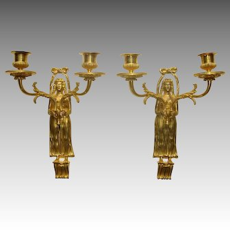 Pair of Gilt-Bronze Two-Arm Figural Wall Sconces c. 1900