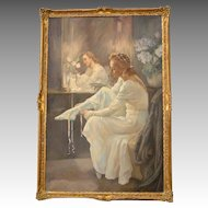 Large Oil on Canvas Painting of Galina Ulanova Playing Juliet for the Bolshoi Ballet
