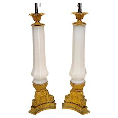 Pair of French Belle Epoque Opaline and Gilt Bronze Lamps