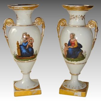 Pair of Antique Meissen Urns Hand-Painted with Mother and Child