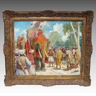 Exotic Orientalist Illustration Painting of a Royal Indian Expedition by Anton Otto Fischer 1928