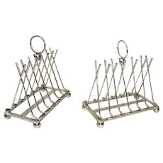 Pair of Vintage English Silver-Plated Golf Club Toast Racks