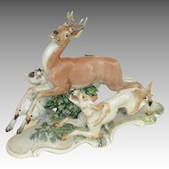 Beautiful Rosenthal Porcelain Group of a Stag and Dogs signed, 'T. Karner' c. 1930/40's