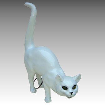 Early 20th c. Continental Porcelain Cat Lamp