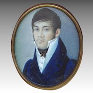 Early-Mid 19th C. Portrait of a Handsome Young Gentleman