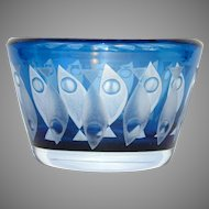 Kosta Glass Etched Fish Bowl by Hans Owe Sandeberg