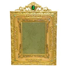 Elaborately Decorated Jeweled Gilt Bronze French Picture Frame c. 1910