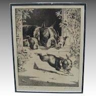 Original Signed Etching of Bulldog Family - American c. 1930's/40's