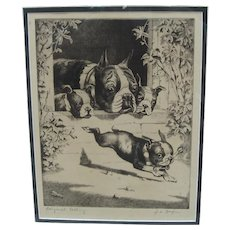 Original Signed Etching of Bulldog Family - American c. 1930's/40's