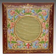 1920's Leather Picture Frame with Beautiful Hand Painted Vellum Surround