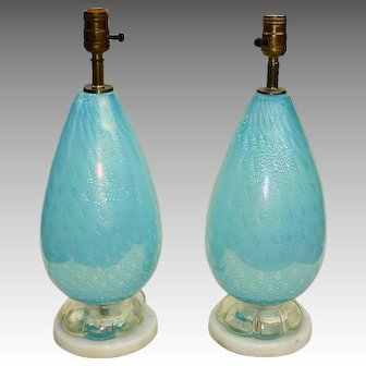 Pair of Mid-20th C. Italian/Murano Glass Table lamps