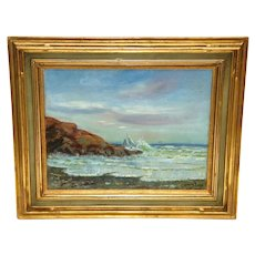 """Oil on Canvas Coastal Painting by American Artist William Gurry, """"Nahant"""" Dated 1905"""