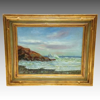 "Oil on Canvas Coastal Painting by American Artist William Gurry, ""Nahant"" Dated 1905"