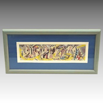 Modernist Gouache Study of Algerian/Moroccan Elements by Buffalo Artist Norbert Kammer 1948.