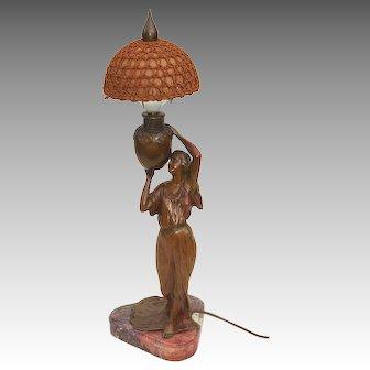 Continental Bronze Art Nouveau Figural Lamp C. 1900