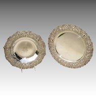 Sterling Silver Repousse Bowl by Kirk and a Sterling Silver Repousse Plate by Stieff