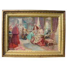 Elaborate French Oil Painting of a Boudoir Interior Late 19th C.
