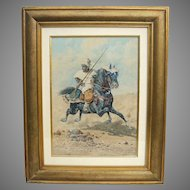 Late 19th c. Orientalist Watercolor of Arab on Horseback by Giuseppe Gabani