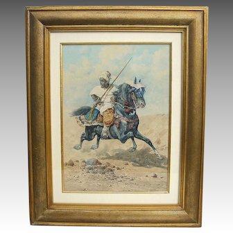 Late 19th c. Orientalist Watercolor of Arab on Horseback by Giuseppe Gabani