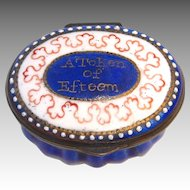 English Enamel Battersea/Bilston Oval Snuff/Patch Box with Motto c. 1780 - 1810