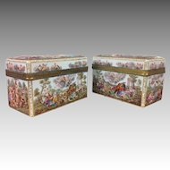 Pair of Massive 19th C. Capodimonte Style Meissen Porcelain Dresser Boxes
