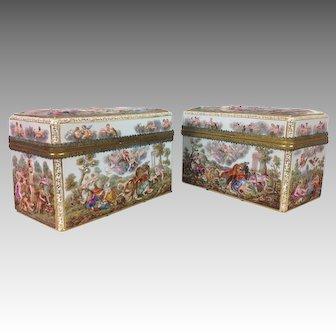 Pair of Massive 19th C. Capodimonte Style Meissen Porcelain Dresser Boxes