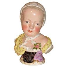 Large Kaendler Designed Meissen Porcelain Bust c. 1900