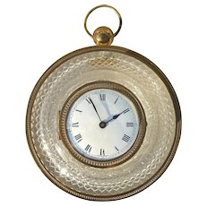 Attractive Early 20th C. French Cut-Crystal and Bronze Wall Clock