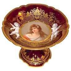 Royal Vienna Portrait Compote Signed Wagner