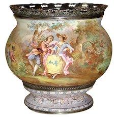 Excellent Quality Late 19th c. Renaissance Revival Enamel on Silver Vase