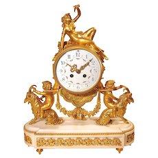 French Belle Époque Gilt-Bronze Figural Mantle Clock