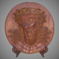 Early 20th C. Wooden Relief Carved Portrait of Jesus with Crown of Thorns