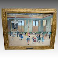 Reverse on Glass Oil Painting of Dancing Children dated 1875