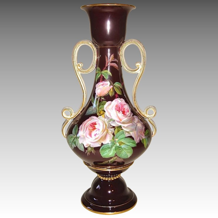 Beautiful Meissen Vase With Roses On A Oxblood Ground C 1900 By