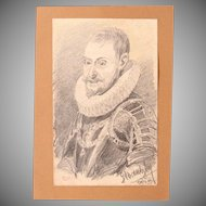 1910's Original Charcoal Portrait of Philip of Spain by Franz Brantzky