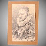 1910's Original Charcoal Portrait of Philip of Spain by Franz Brantzky