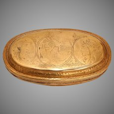 Early 18th Century Fine Dutch Tobacco Box - Engraved Snuff Box from Holland in Brass