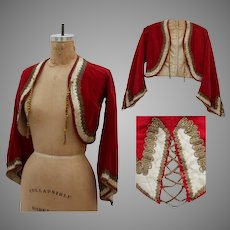19th Century Antique Red Velvet Cropped Jacket with metal work