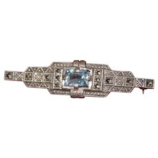 Art Deco Sterling Silver Brooch with Aquamarine and Marcasites