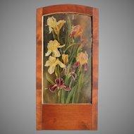 "Art Nouveau Oil Painting ""Irises"" in beautiful wood frame"