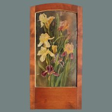 "Art Nouveau Oil Painting ""Irises"" in beautiful wood frame"