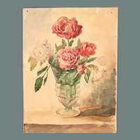 """Vase of Roses"" - 19th Century Impressionism Still Life by ""Müller"" / Aquarelle Watercolor Painting from Germany"