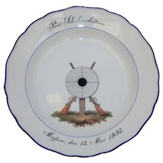19th Century Meissen Porcelain Collectors Shooters Plate - Handpainted Rifle & Target Plate