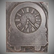 19th Century Printing Block / Cliché of a Mantel Clock - Steel Engraving Stereotype